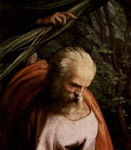Detalle de José de Nazaret en el Descanso en la huida a Egipto (1517), óleo sobre lienzo de Antonio Allegri da Correggio.