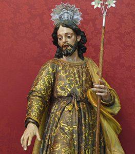 San José de la Hermandad de los Desamparados (San Fernando, España). En la imagen se observa la vara florida, uno de los símbolos de José de Nazaret a partir del siglo V.