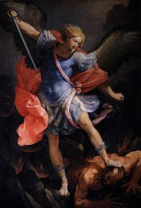 """En esta obra de Guido Reni, el Arcángel Miguel derrota al diablo, icono inspirado en Apocalipsis 12, 7 en el cual se relata una """"batalla en el cielo: Miguel y sus ángeles combatieron contra el Dragón"""", después de que """"la Mujer dio a luz a un Hijo varón"""" (v.5). Escenas que corresponden a la cosmogonía judeocristiana de la lucha entre el bien y el mal, de la cual la advocación de la Auxiliadora es un icono correspondiente."""