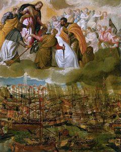 En esta pintura de Paolo Veronese, se representa la Batalla de Lepantoy en la cual se puede ver una de las primeras representaciones de María Auxiliadora al lado de los ejércitos cristianos.