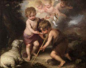 Juan y Jesús de niños en un cuadro de Murillo. Según Lucas sus madres eran parientes.