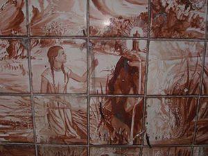 Hallazgo de la imagen de la Virgen. Mosaico en el Parque España (San José), Costa Rica.