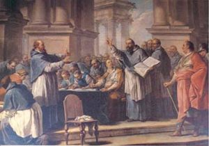La afinidad del juez con la Iglesia y las artes retóricas de San Agustín, llevó a la ilegalización del donatismo en 412 «San Agustín y los donatistas» Charles-André van Loo.