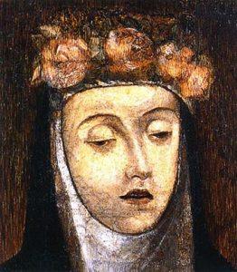 Retrato póstumo de Santa Rosa, lienzo del artista italiano Angelino Medoro. Fue pintado pocas horas después del fallecimiento de la santa limeña, el 24 de agosto de 1617.