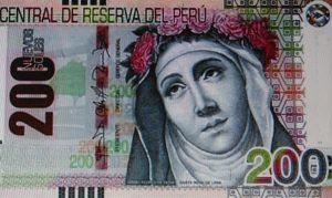 Santa Rosa de Lima en los billetes de 200 soles.