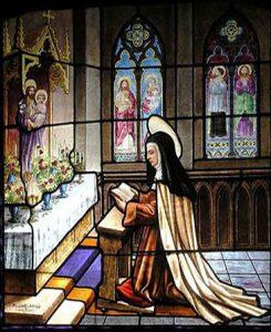 Vidriera del convento de Santa Teresa.
