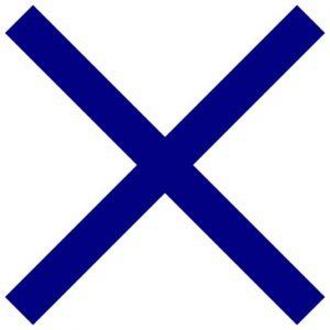 Cruz de San Andrés. A san Andrés se le suele representar crucificado en una cruz en forma de X.