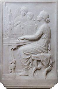 Relieve en mármol de la santa Cecilia de Roma. Balthasar Schmitt, Roma 1892