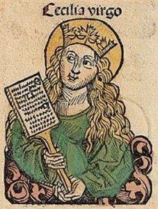 Virgen Cecilia, de Hartmann Schedel (1493) en las Crónicas de Núremberg.