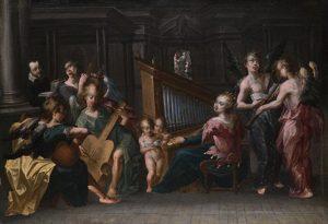 Santa Cecilia con un coro de ángeles, anónimo (siglo XVII).