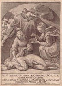 La Virgen recoge a santa Cecilia.