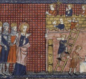 San Valentín de Terni supervisa la construcción de su basílica en Terni, tomado de un manuscrito francés del siglo XIV