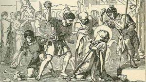 Representación de San Valentín, durante su lapidación el 14 de febrero el 269 d.C.