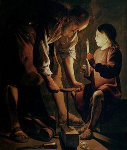 San José carpintero, de Georges de La Tour. Óleo sobre lienzo pintado en la década de 1640. Museo del Louvre, París.