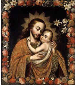 Lienzo cuzqueño que representa a San José con el Niño Jesús. Perú es uno de los países de los cuales José de Nazaret fue proclamado santo patrón.