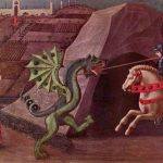 San Jorge y el dragón, Paolo Uccello, c. 1470. El dragón tiene la apariencia de un guiverno.