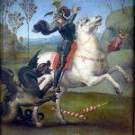 San Jorge y el dragón, pintado en 1504 por Rafael.