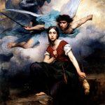 Juana de Arco recibiendo el mensaje del arcángel Miguel por Eugene Thirion (1876).