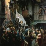 Entrada triunfal de Juana de arco en Orleans, de Jean-Jacques Scherrer, museo de bellas artes de Orleans (1887)