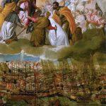 En esta pintura de Paolo Veronese, se representa la Batalla de Lepanto y en la cual se puede ver una de las primeras representaciones de María Auxiliadora al lado de los ejércitos cristianos.