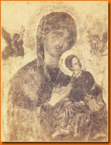 Icono de la Virgen del Perpetuo Socorro antes de su restauración.