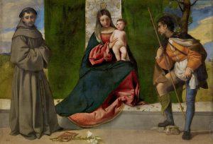 """""""La Virgen con el Niño entre San Antonio de Padua y San Roque"""", Tiziano, h.1508"""