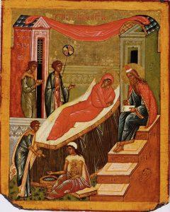 Icono ruso representando la Natividad de San Juan Bautista