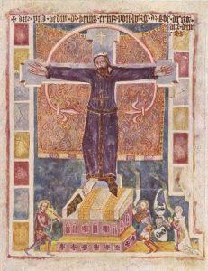 Mural de Santa Wilgefortis (Santa Librada) en Weissenburg, Baviera, fines del siglo XIV.