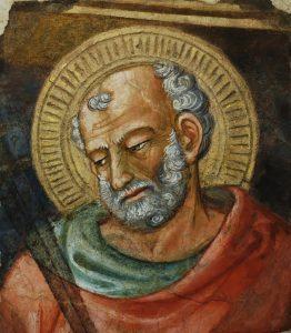 San Judas Tadeo, fragmento de un fresco realizado por Bicci di Lorenzo (1373–1452). Museo dell'Opera del Duomo (Florencia).