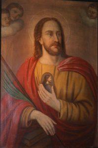 San Judas Tadeo, portando sobre su pecho una imagen de Jesús con forma de medallón. (Santuario de Heisterbacherrott, en Renania del Norte.)