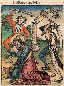 San Judas Tadeo, martirizado con maza y decapitado con shamsir. Hartmann Schedel, Crónicas de Núremberg.