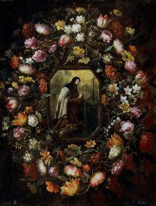 Guirnalda de flores con Santa Teresa de Jesús Óleo sobre lienzo. Hacia 1676 PÉREZ, BARTOLOMÉ