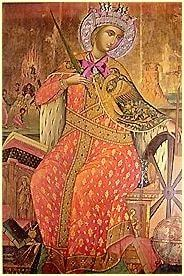 Santa Catalina de Alejandría, representada con una rueda, uno de los símbolos de su martirio. Ícono del monasterio homónimo situado en el monte Sinaí, siglo XVII.