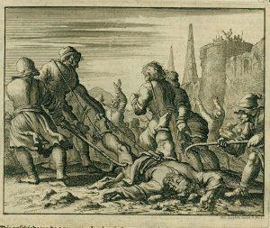 Martirio del evangelista Marcos en Alejandría. Grabado de Jan Luyken, 1685.