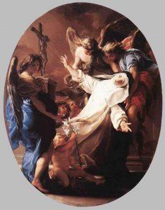 Éxtasis de santa Catalina ante el crucifijo, obra de Pompeo Batoni.
