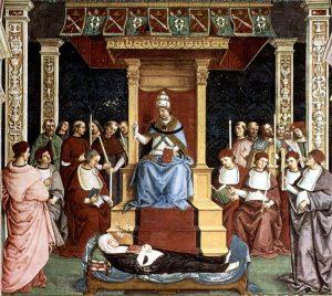 Canonización de Catalina, por el papa Pío II, obra de Pinturicchio.