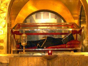 Cuerpo incorrupto de Santa Rita situado en la Basílica de Santa Rita en Cascia, Italia.