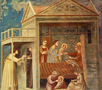 El nacimiento de María, obra de Giotto para la capilla de los Scrovegni, h. 1305. en el fresco destacan la presencia de los padres de María, santa Ana y san Joaquín, cuya fiesta es el 26 de julio